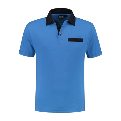 Indushirt Poloshirt bi-color PS 200 Korenblauw/Marineblauw