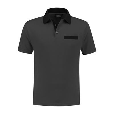 Indushirt Poloshirt bi-color PS 200 Antraciet/zwart