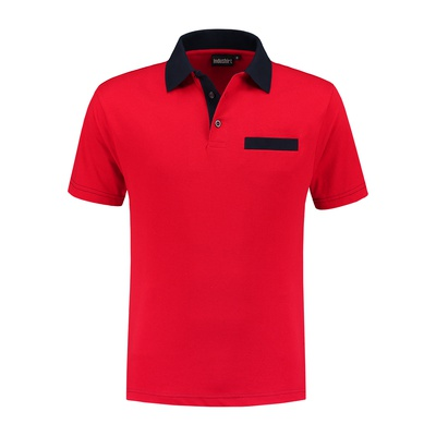 Indushirt Poloshirt bi-color PS 200 Rood/Marineblauw