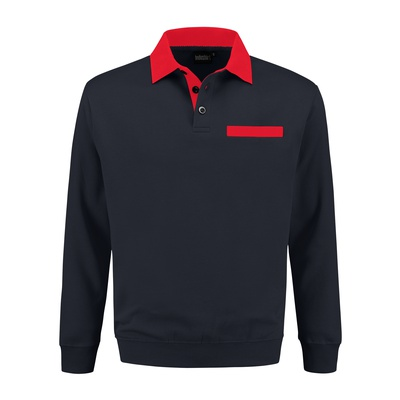 Polosweater bi-color PSW300 Marine/Rood