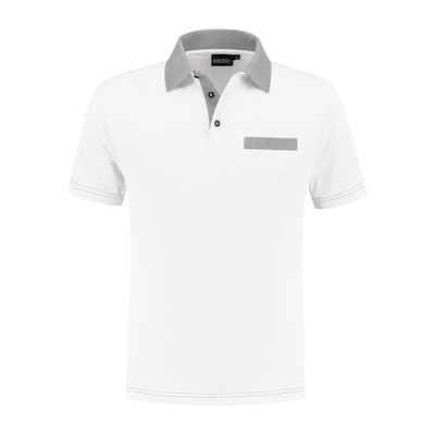 Indushirt Poloshirt bi-color PS 200 Wit/grijs