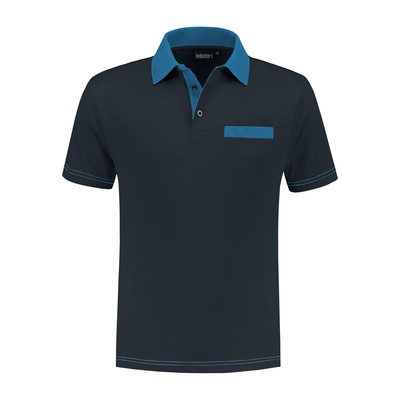 Indushirt Poloshirt bi-color PS 200 Marineblauw/Korenblauw